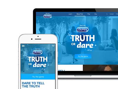 Truth or Dare Design play fun social durex game ui design website