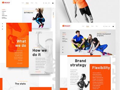 Website concept fitness activities fun social ready sport ui design website