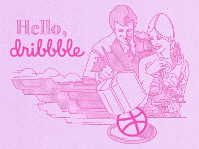 Hello Dribbble grit halftone illustration risograph