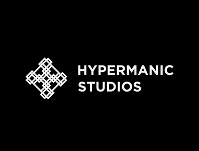 Hypermanic Studios Logo typography white vector branding brand abstract minimal logo modern design