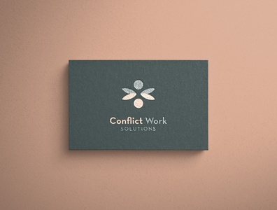 Conflict Work Solutions Logo peach navy branding brand abstract minimal logo modern design