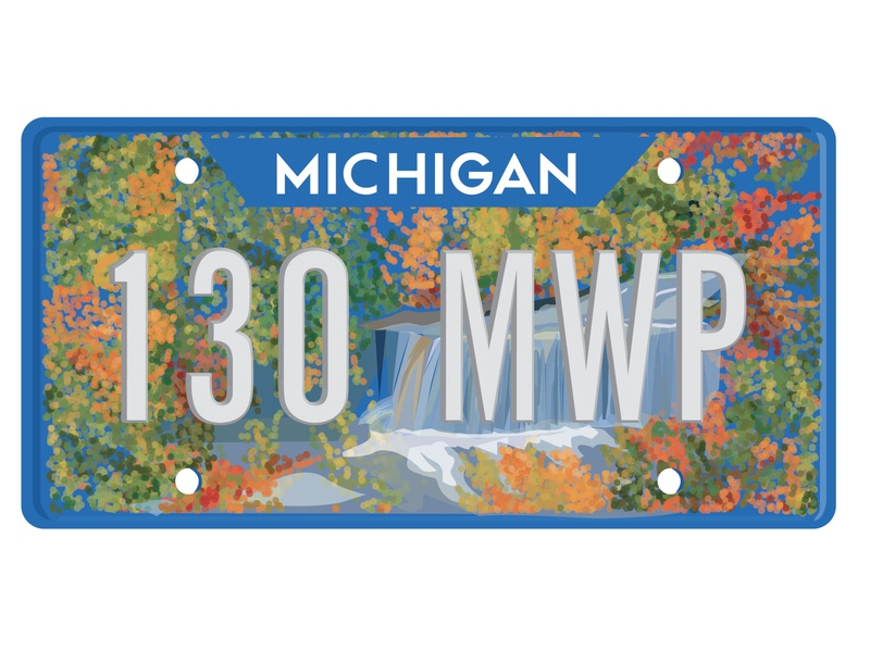 Michigan License Plate Design (Dribbble Weekly Warmup) autumn leaves nature illustration falls autumn fall trees nature michigan design illustration adobe illustrator illustrator vector art graphic design vector