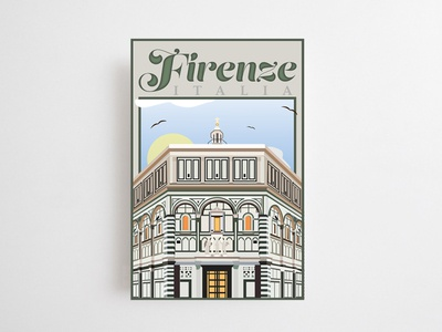 Postcard of a Place You Wish to Travel (Dribbble Weekly Warmup) dribbleartist renaissance florence baptistry dribbbleweeklywarmup dribbble postcard design postcards postcard italy firenze typography illustration adobe illustrator illustrator vector art graphic design vector