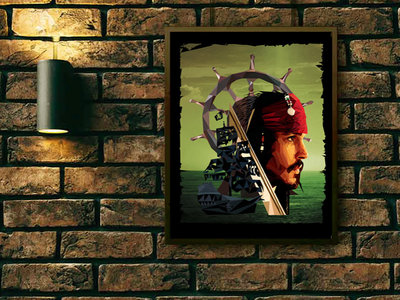 Captain Jack Sparrow Low-Poly Art poster art canvas print poster pirates of the caribbean pirates pirate canary captain jack sparrow captain jack triangles low poly disney