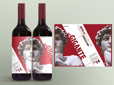 The David Wine Label - Il Gigante illustration adobe illustrator vector painting vector art vector wine italian italy renaissance art the david il gigante wine label