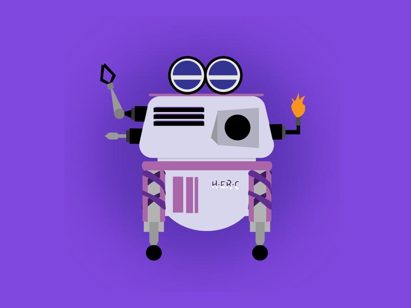 Robot H-ER-C - Dribbble Rebound robots rebound robot illustration adobe illustrator illustrator vector art graphic design vector