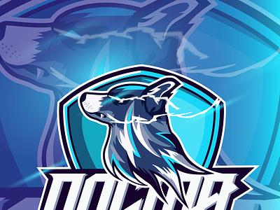 Esport Logo Dog Mascot with text Dogma design vector illustration esport