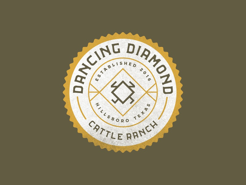 Dancing Diamond Ranch Logo Concept - Round II cattle branding patch illustration badge texas logo