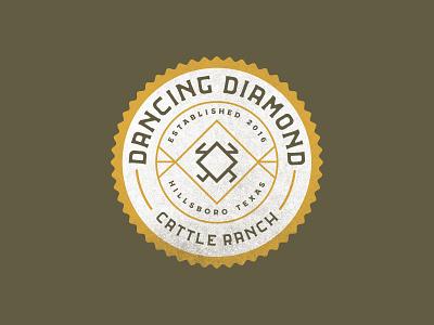 Dancing Diamond Ranch Logo Concept - Round II cattle branding patch illustration badge texas logo