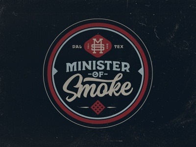 Minister of Smoke Logo Concept - MRK I photography branding barbecue bbq patch badge texas illustration