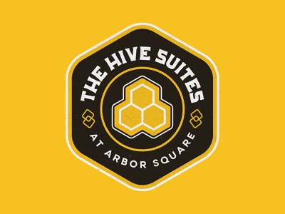 The Hive Logo Concept II honeycomb honeybee bee design branding patch illustration badge texas logo