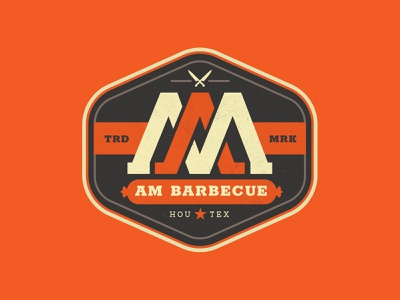 AM Barbecue Logo Concept houston brand barbecue design branding bbq patch illustration badge texas logo