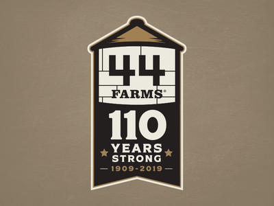 44 Farms Anniversary Badge feedbackplease texas silo grain commemorative anniveraary angus cattle ranch farm