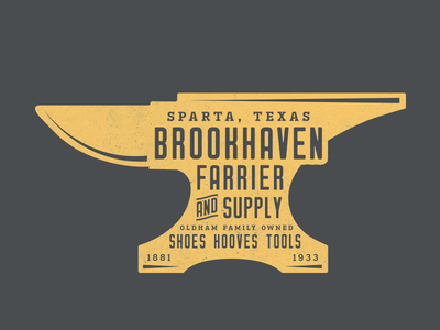 Brookhaven Farrier & Supply logo patch badge texas anvil supply farrier blacksmith
