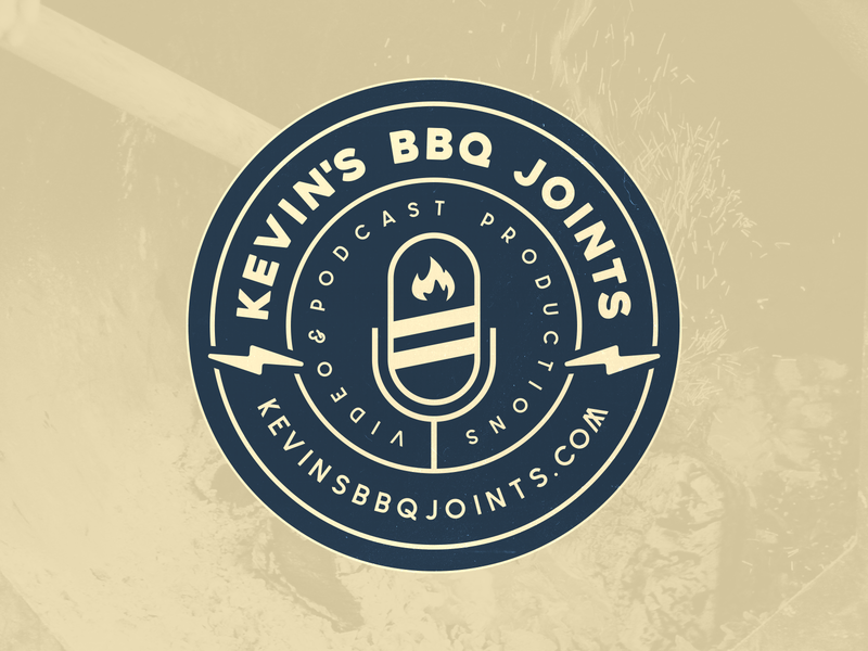 Kevin's BBQ Joints Logo Concept vector design barbecue electric patch badge microphone bbq podcast illustration logo