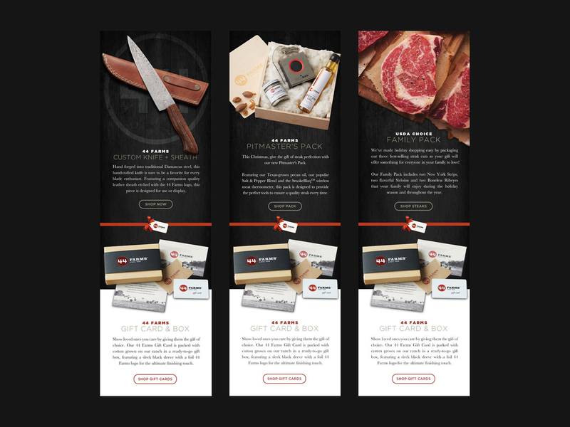 44 Farms Holiday E-Blast Graphics eblast newsletter email shop gift knife steak christmas holiday farms 44
