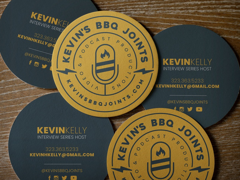 Kevin's BBQ Joints Business Card Concept podcast logo podcast art podcast patch badge microphone logo illustration electric design bbq barbecue badge logo