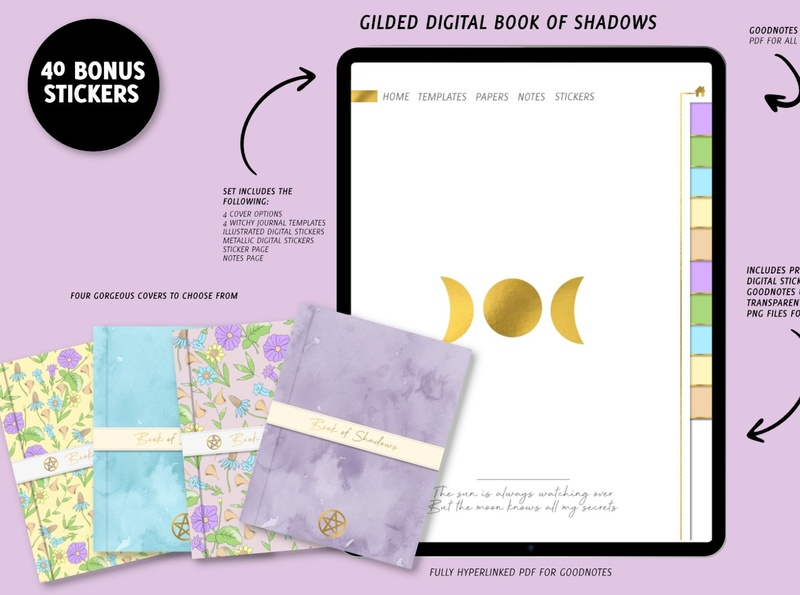 Digital Book of Shadows for Goodnotes bullet journal planner product design graphic design