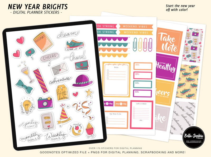 New Year Brights Digital Sticker Pack for Goodnotes goodnotes planner illustration graphic design product design design
