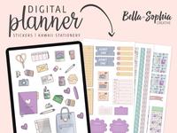 Kawaii Stationery Digital Sticker Pack Illustrations and Designs