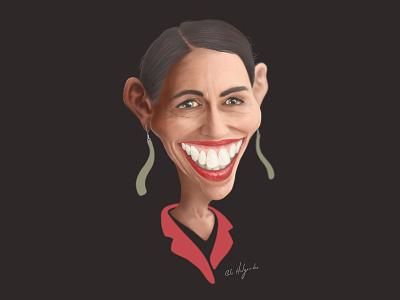 NZ Prime Minister Jacinda Ardern photoshop wacom kiwiana new zealand graphic design character caricature illustration