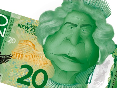 Illegal Tender - Queen Elizabeth II (Close up) currency new zealand uk queen kiwiana photoshop caricature graphic graphic design illustration