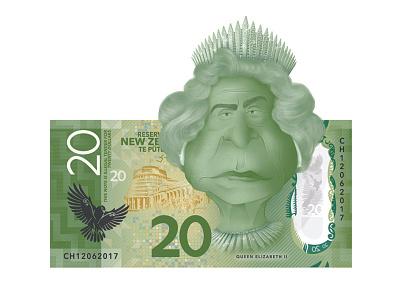 Queen Elizabeth II new zealand character the queen queen elizabeth graphic design kiwiana photoshop illustration caricature