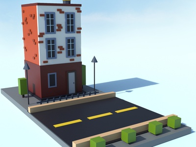 Lowpoly house 3d art illustration art blender 3d blender lowpoly 3d illustration design