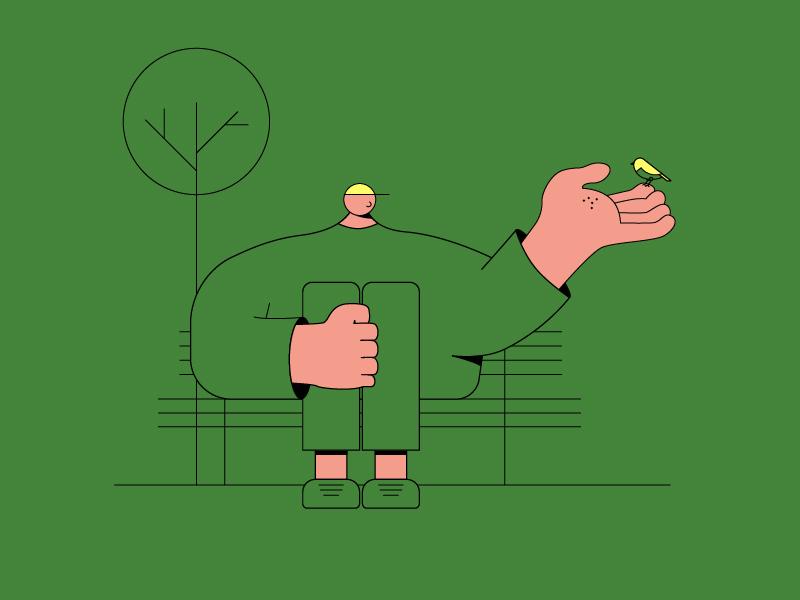 Man With A Bird drawing design vector illustrator illustration