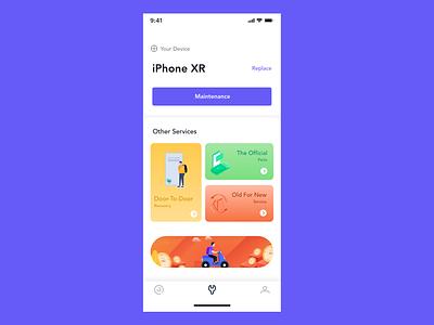 Mobile maintenance app illustration design ui