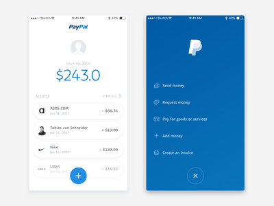 PayPal App Redesign redesign mobile balance pay payment app minimal ios iphone ux ui paypal