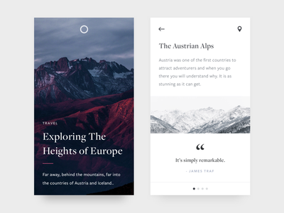 Heights of Europe unsplash minimal cards photography mountains ui ux typography white ios mobile