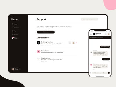 Support page for Klarna