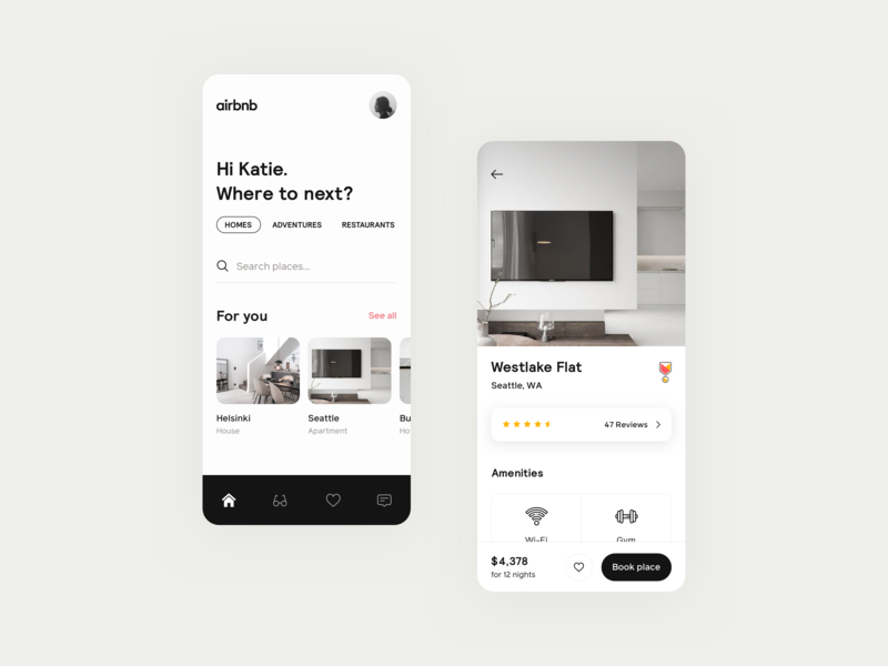 Airbnb concept booking interior simple iphone 2019 interface housing mobile rent minimal monochrome product design ios concept app airbnb