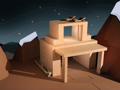 Cabin2 3d architecture abstract geometric geo lowpoly