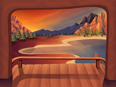 Lake Deck photoshop mountain lake sky sunset dusk painting illustration