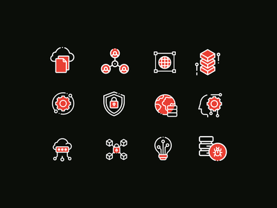 Custom Technology Icons product design productdesign data iconography icons set icons design icon iconset ai tech technology icons design ui