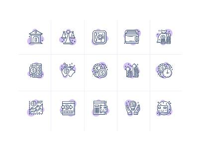 Custom Finance Icons visual identity app icon flat illustration icons design icon design design finance tech ai icon set iconography icons icon data productdesign product design product