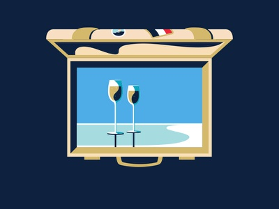 AMEX Gold | Suitcase pitch gold not to scale amex animation 2d illustration colin hesterly