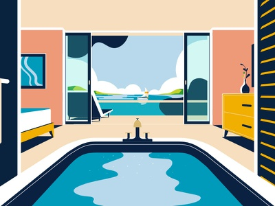 AMEX Gold | Hotel pitch gold not to scale amex animation 2d illustration colin hesterly