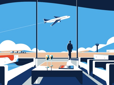 AMEX Gold | Airport pitch gold not to scale amex animation 2d illustration colin hesterly