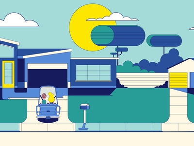 """Michelin - """"Suburban Day"""" Plate illustration michelin animation character design not to scale colin hesterly"""