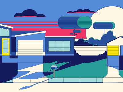 """Michelin - """"Suburban Sunset"""" Plate illustration michelin animation character design not to scale colin hesterly"""