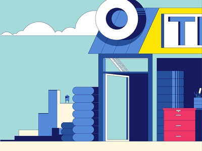 """Michelin - """"Tire Shop"""" Plate illustration michelin animation character design not to scale colin hesterly"""