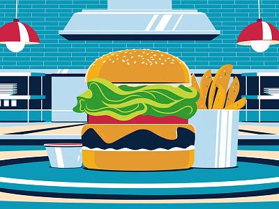 Amex Burger amex japan fun times burger food illustrator illustration colin hesterly 3d animation 3d 2d animation 2d amex