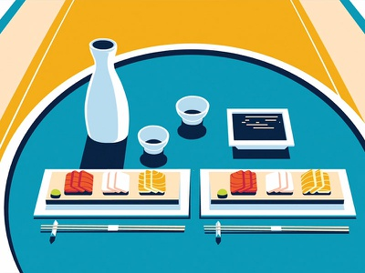 Amex Sushi amex japan fun times sushi food illustrator illustration colin hesterly 3d animation 3d 2d animation 2d amex
