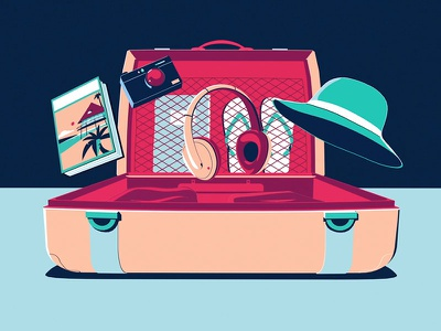 Amex Luggage amex japan fun times illustrator illustration colin hesterly 3d animation 3d 2d animation 2d amex
