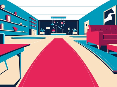 Amex Furniture amex japan fun times illustrator illustration colin hesterly 3d animation 3d 2d animation 2d amex