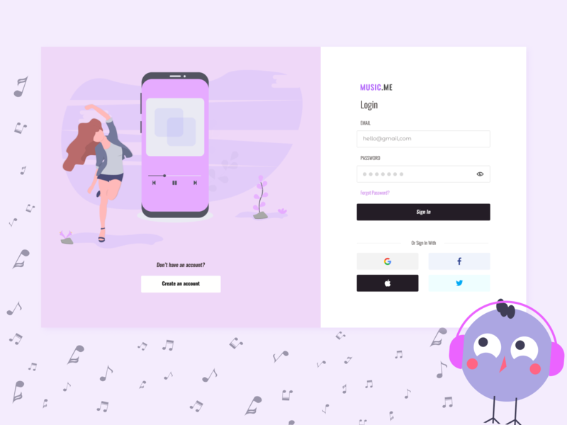 Music me - music platform login page audio player audio app web platform dashboard design uplabs uiuxdesign music player music app figma uxui ui design