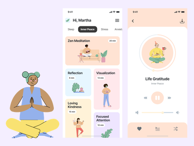 Medittion ios app app ui kit music player learning app mindfulness meditation app iosapp mobile ui figma mobile app design uiuxdesign